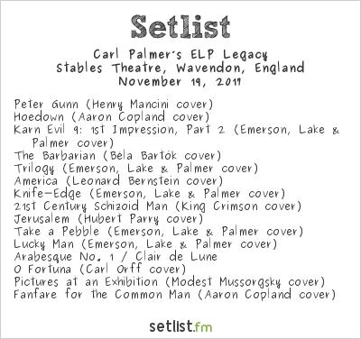 Carl Palmer's ELP Legacy Setlist The Stables, Milton Keynes, England 2017