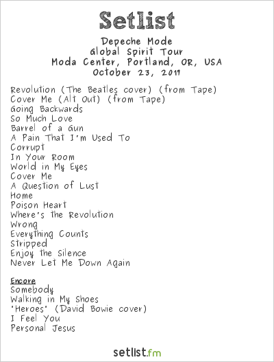 Depeche Mode Setlist Moda Center, Portland, OR, USA 2017, Global Spirit Tour