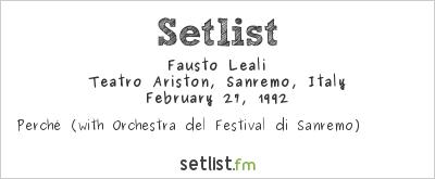 Fausto Leali Setlist Festival della Canzone Italiana di Sanremo 1992 1992
