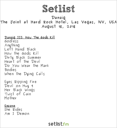 Danzig Setlist Psycho Las Vegas 2018, European Tour 2018
