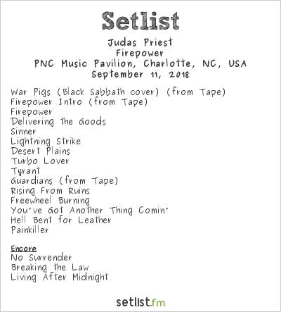 Judas Priest Setlist PNC Music Pavilion, Charlotte, NC, USA 2018, Firepower