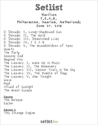 Marillion Setlist Philharmonie, Haarlem, Netherlands 2018, F.E.A.R.