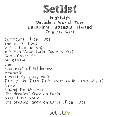 Nightwish Setlist Laulurinne, Joensuu, Finland 2018, Decades: World Tour