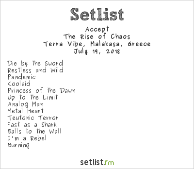 Accept Setlist Rockwave Festival 2018 2018, The Rise of Chaos