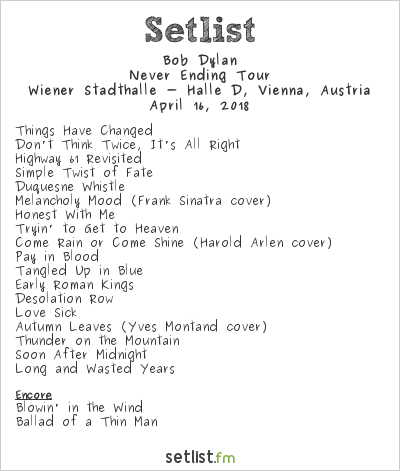 Bob Dylan Setlist Wiener Stadthalle, Vienna, Austria 2018, Never Ending Tour