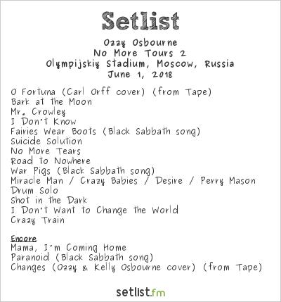 Ozzy Osbourne Setlist Olympijskiy Stadium, Moscow, Russia 2018, No More Tours 2