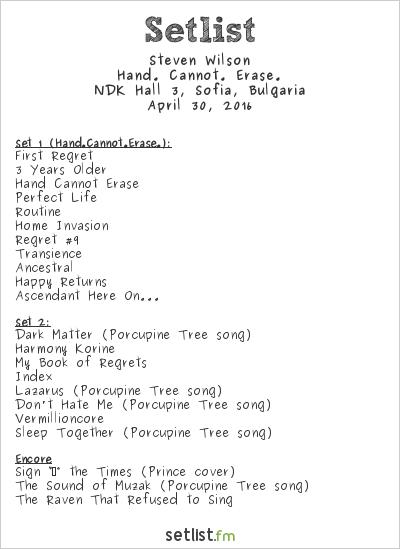 Steven Wilson Setlist NDK Hall 3, Sofia, Bulgaria 2016, Hand. Cannot. Erase.