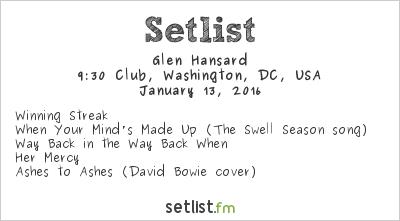Glen Hansard Setlist 9:30 Club, Washington, DC, USA 2016