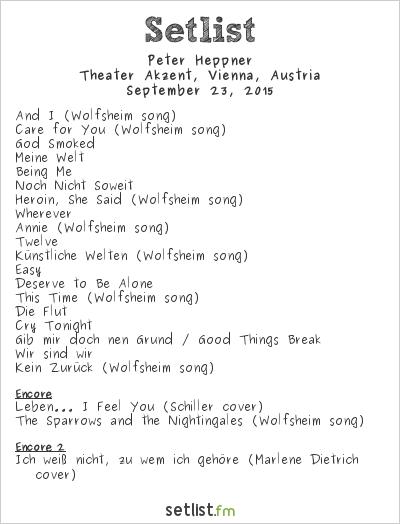Peter Heppner Setlist Theater Akzent, Vienna, Austria 2015