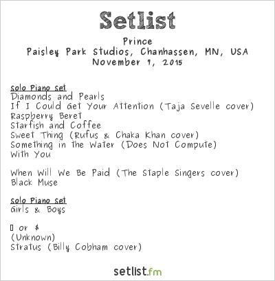 Prince Setlist Paisley Park Studios, Chanhassen, MN, USA 2015
