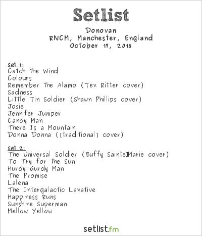 Donovan Setlist RNCM, Manchester, England 2015