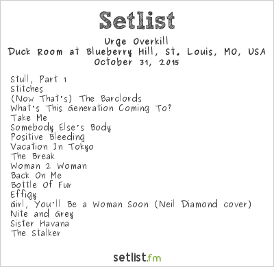Urge Overkill at Duck Room at Blueberry Hill, St. Louis, MO, USA Setlist