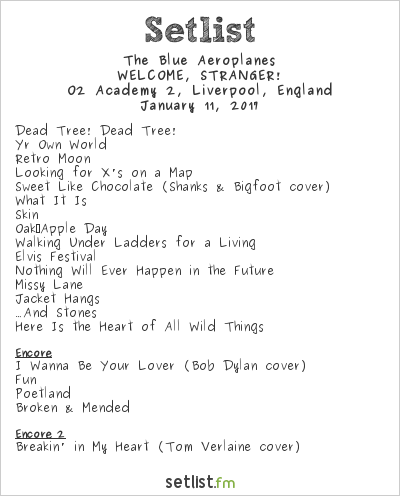 The Blue Aeroplanes Setlist O2 Academy 2, Liverpool, England 2017, WELCOME, STRANGER!