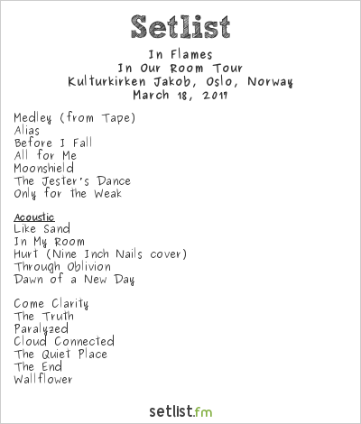 In Flames Setlist Kulturkirken Jakob, Oslo, Norway 2017, In Our Room Tour
