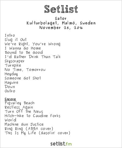Sator Setlist Kulturbolaget, Malmö, Sweden 2016
