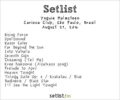 Yngwie J. Malmsteen Setlist Carioca Club, São Paulo, Brazil 2016