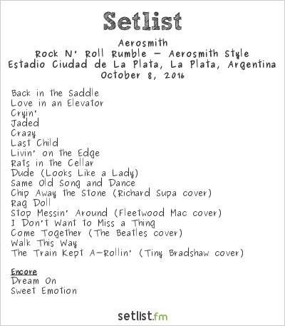 Aerosmith Setlist Estadio Ciudad de La Plata, La Plata, Argentina 2016, Rock N' Roll Rumble - Aerosmith Style