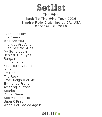 The Who Setlist Desert Trip, Back to The Who Tour 2016