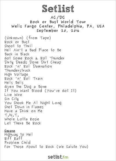 AC/DC Setlist Wells Fargo Center, Philadelphia, PA, USA 2016, Rock or Bust World Tour