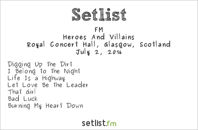 FM Setlist Royal Concert Hall, Glasgow, Scotland 2016