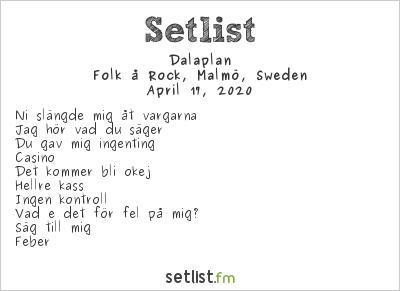 Dalaplan Setlist Folk å Rock, Malmö, Sweden 2020