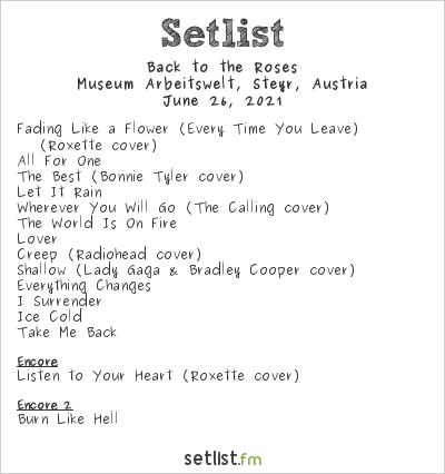 Back to the Roses at Museum Arbeitswelt, Steyr, Austria Setlist