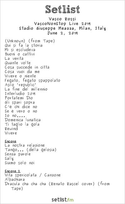 Vasco Rossi Setlist Stadio San Siro, Milan, Italy, VascoNonStop Live 2019