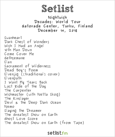 Nightwish Setlist Gatorade Center, Turku, Finland 2018, Decades: World Tour