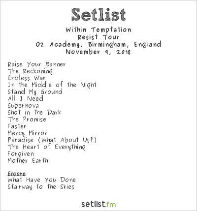 Within Temptation Setlist O2 Academy, Birmingham, England 2018, Resist Tour