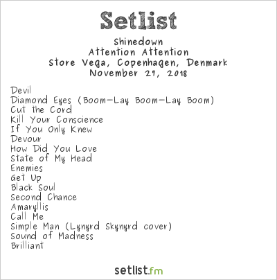 Shinedown Setlist Vega, Copenhagen, Denmark 2018, Attention Attention