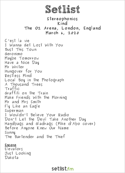 Stereophonics Setlist The O2 Arena, London, England 2020, Kind