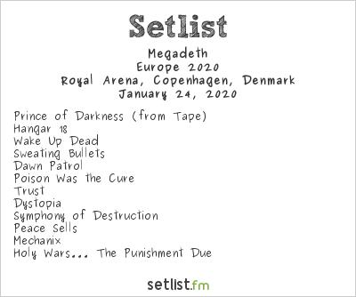 Megadeth Setlist Royal Arena, Copenhagen, Denmark, Europe 2020