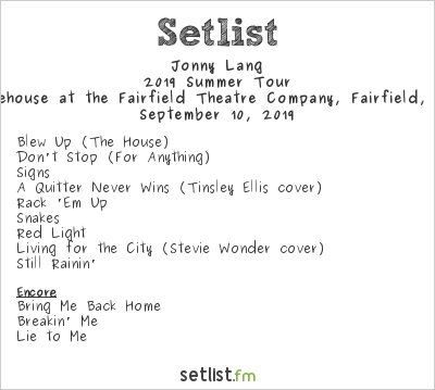 Jonny Lang Setlist The Warehouse at the Fairfield Theatre Company, Fairfield, CT, USA 2019, 2019 Summer Tour
