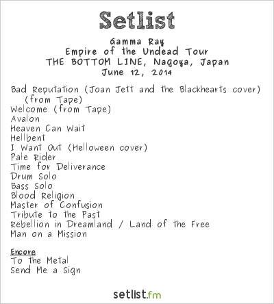 Gamma Ray Setlist Bottom Line, Nagoya, Japan 2014, Empire of the Undead Tour