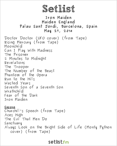 Iron Maiden Setlist Palau Sant Jordi, Barcelona, Spain, Maiden England - European Tour 2014