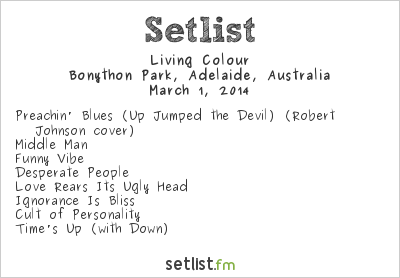 Living Colour Setlist Soundwave Adelaide 2014 2014