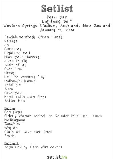 Pearl Jam Setlist Big Day Out Auckland 2014 2014, Lightning Bolt