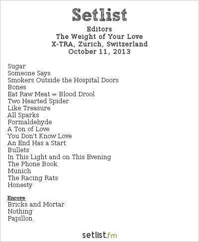 Editors Setlist X-tra, Zurich, Switzerland 2013, The Weight of Your Love