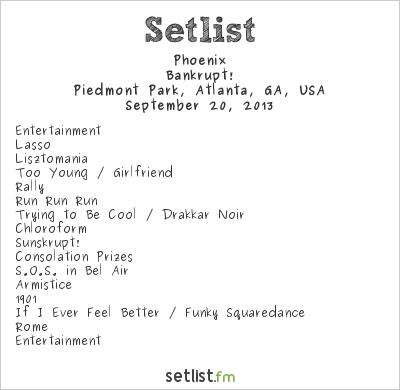 Phoenix at Music Midtown 2013 Setlist