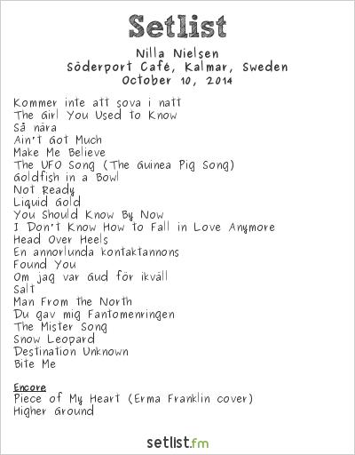 Nilla Nielsen Setlist Söderport Café, Kalmar, Sweden 2014