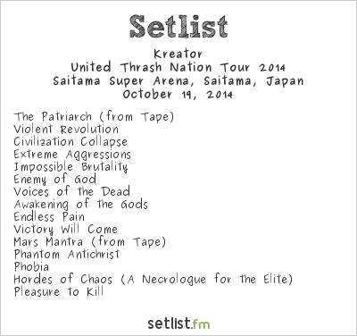 Kreator Setlist Loud Park 2014, United Thrash Nation Tour 2014