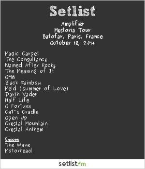 Amplifier Setlist Batofar, Paris, France 2014, Mystoria Tour
