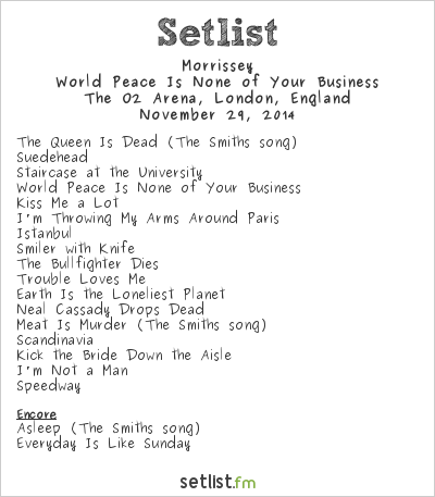 Morrissey Setlist O2 Arena, London, England 2014, World Peace Is None of Your Business
