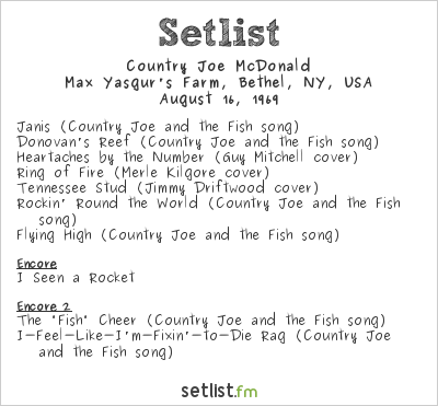 Country Joe McDonald Setlist Woodstock 1969