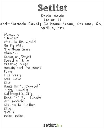 David Bowie Setlist Oakland-Alameda County Coliseum Arena, Oakland, CA, USA 1978, Isolar II Tour