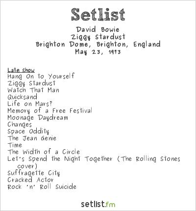 David Bowie Setlist Brighton Dome, Brighton, England 1973, Ziggy Stardust Tour