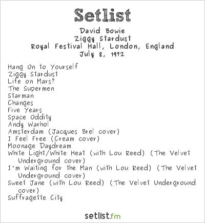 David Bowie Setlist Royal Festival Hall, London, England 1972, Ziggy Stardust Tour