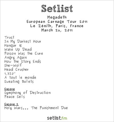 Megadeth at Le Zénith, Paris, France Setlist