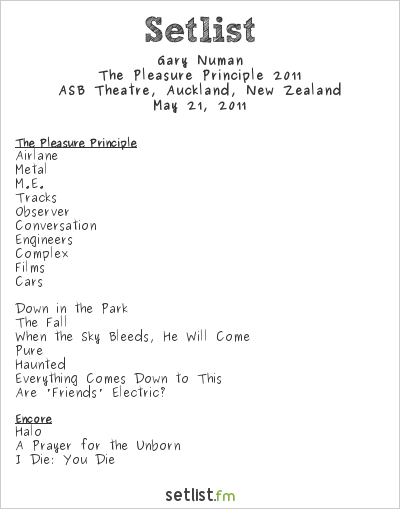 Gary Numan Setlist The Edge, Auckland, New Zealand, The Pleasure Principle 2011