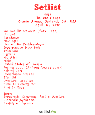 Muse Setlist Oracle Arena, Oakland, CA, USA 2010, Resistance Tour